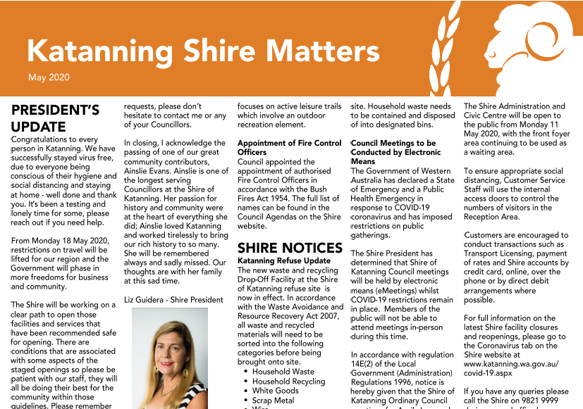 Katanning Shire Matters Newsletter May 2020