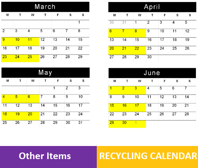 PUBLIC NOTICE: RECYCLING CALENDAR AMENDMENT